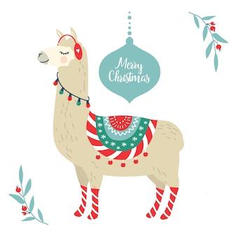 Cute cartoon llama alpaca vector graphic design for christmas holiday