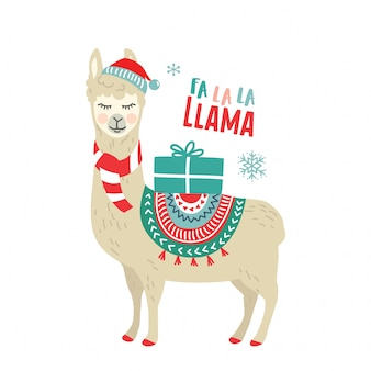 Cute cartoon llama alpaca vector graphic design for christmas holiday