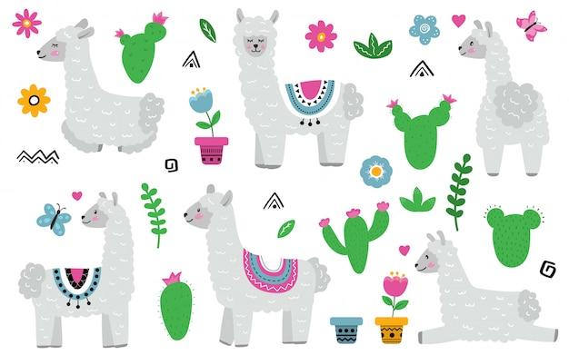 Cute cartoon llama alpaca.