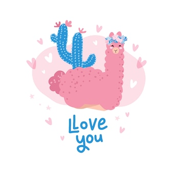 Cute cartoon llama character illustration for valentine's day.