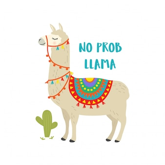 Cute cartoon llama character with motivational quote