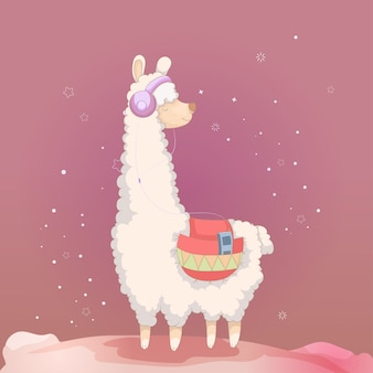 Cute cartoon llama design