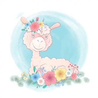 Симпатичная мультипликационная лама в венке из цветов