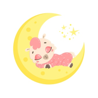 月で眠っているかわいい漫画のラマ。