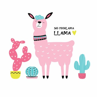 Cute cartoon llama with cactus.