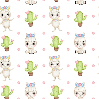 Cute cartoon llamas seamless pattern. baby llama with flowers, cactus with hearts on a white background