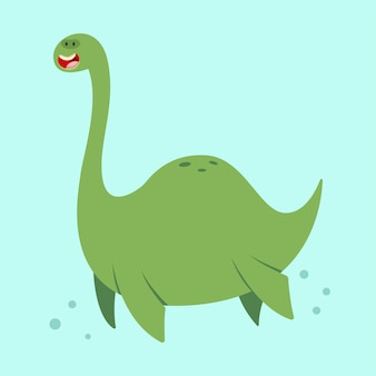 Cute cartoon loch ness monster. vector illustration of a nessie character isolated