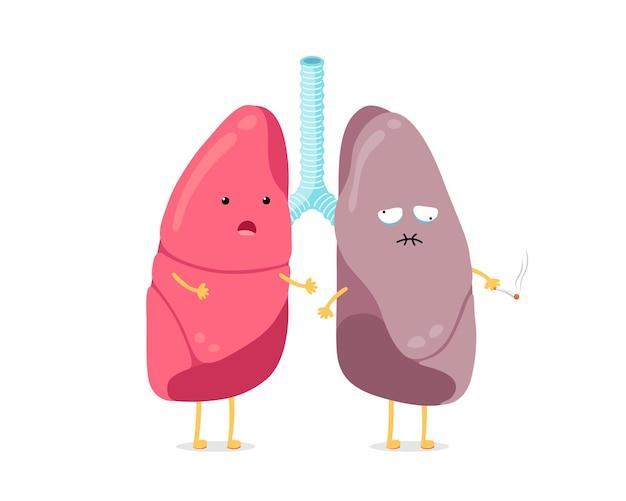 かわいい漫画の肺のキャラクターは健康で喫煙者は強い驚きの肺と病気の喫煙に苦しんでいます