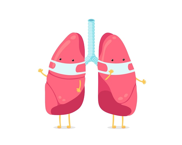 Cute cartoon lungs character with breathing hygiene mask on face human respiratory system lung