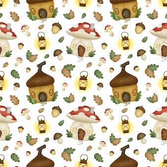 かわいい漫画の魔法のおとぎ話の秋の森のシームレスなパターン。キノコの家、どんぐりの家のシームレスパターン