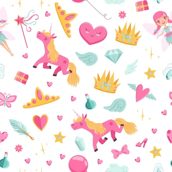 Cute cartoon magic and fairytale elements pattern or  illustration
