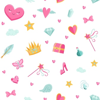 Cute cartoon magic and fairytale elements pattern
