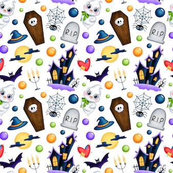 Cute cartoon magic halloween seamless pattern. ghost, haunted house, coffin, grave, skull, full moon, bat, candles, spider digital paper.