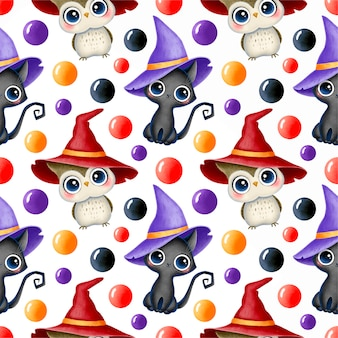 Cute cartoon magical halloween seamless pattern. black cat and owl in a witch hat.
