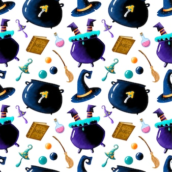 Cute cartoon magical halloween seamless pattern. cauldron with witch legs, book of magic, potion, broom, magic mushrooms, wizard hat.