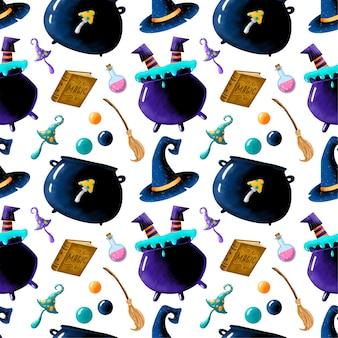 かわいい漫画の魔法のハロウィーンのシームレスなパターン。魔女の足の大釜、魔法の本、ポーション、ほうき、魔法のキノコ、魔法使いの帽子。