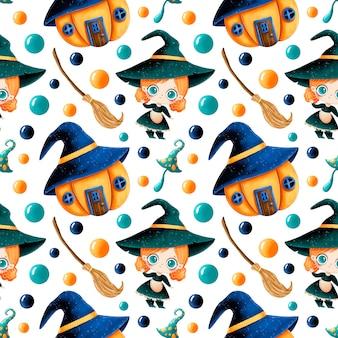 かわいい漫画の魔法のハロウィーンのシームレスなパターン。かわいい魔女、カボチャの家、ほうき、魔法のキノコ。