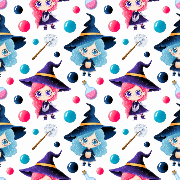 Cute cartoon magical halloween seamless pattern. cute little witches, potion and magic wand.