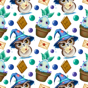 Cute cartoon magical halloween seamless pattern. owl in a wizard's hat with a letter, mandrake root, magic book.