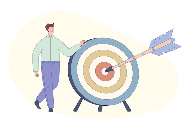 Cute cartoon man and dart board with bow arrow. direct hit on target. business purpose, success, goal achievement concept.