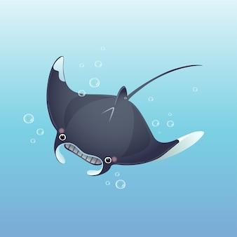 Cute cartoon manta ray swimming in the deep blue sea.