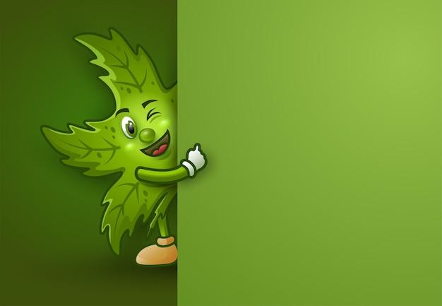 큰 간판과 귀여운 만화 마리화나 잎입니다.