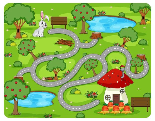 귀여운 만화 미로 게임 템플릿