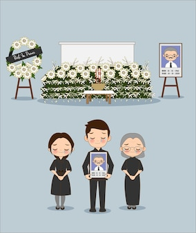 Cute cartoon of a member of an asian family in a funeral ceremony