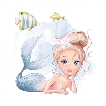 Cute cartoon mermaid and fish on a watercolor background