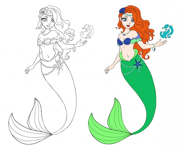 Cute cartoon mermaid. outlined for coloring book isolated on a white background.