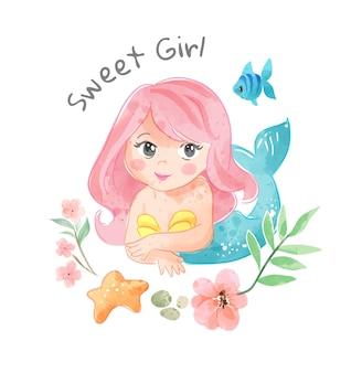 Милая мультяшная русалка с маленькой рыбкой