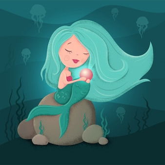 Cute cartoon mermaid with a pearl in a flat style with textures.