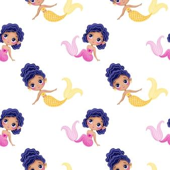 Cute cartoon mermaids seamless pattern. black skin mermaid pattern. underwater pattern. ocean pattern. fairy tale pattern.