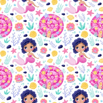 Cute cartoon mermaids seamless pattern. mermaid castle pattern. mermaid house pattren. underwater world pattern. fairy tale pattern.