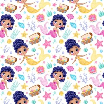 Cute cartoon mermaids seamless pattern. underwater pattern. ocean pattern. fairy tale pattern. Premium Vector