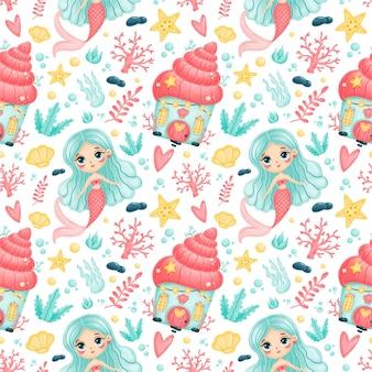 Cute cartoon mermaids seamless pattern. underwater pattern. ocean pattern. fairy tale pattern.