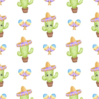 Cute cartoon mexican cactus seamless pattern. cactus with eyes, sombrero and maracas on a white background