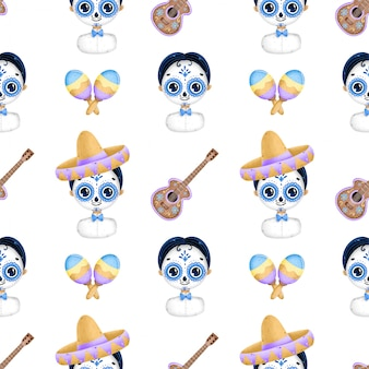 Cute cartoon mexican day of the dead seamless pattern. cartoon traditional mexican boy with sugar skull makeup, sombrero, guitar, maracas on a white background