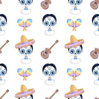 死んだシームレスパターンのかわいい漫画メキシコの日。砂糖頭蓋骨化粧、ソンブレロ、ギター、白い背景の上のマラカスと漫画の伝統的なメキシコの少年