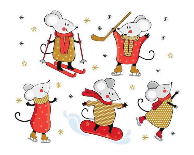 冬のスポーツに従事しているかわいい漫画のマウス。手描きイラスト。
