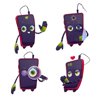Cute cartoon mobile phone character icons set