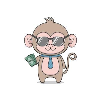 Милый мультфильм деньги персонаж держит деньги