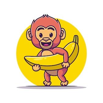 A cute cartoon monkey carrying a banana