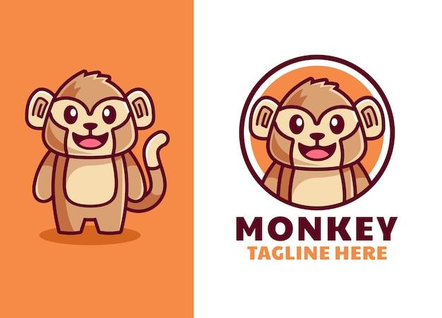 かわいい漫画の猿のマスコットのロゴ Premiumベクター