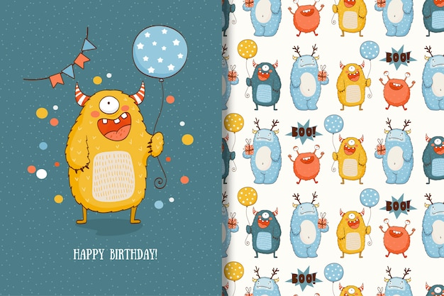 Cute cartoon monster greeting card and seamless pattern