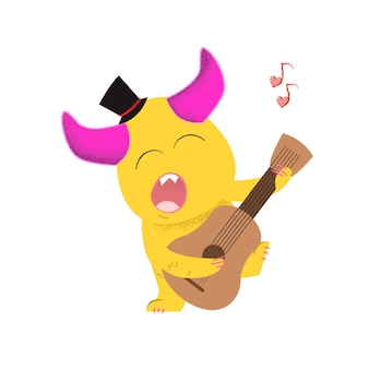 Cute cartoon monster playing guitar and singing love song