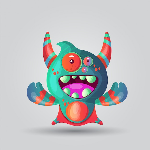 Cute cartoon monster with horns with one eye