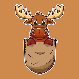 Cute cartoon moose in a pocket