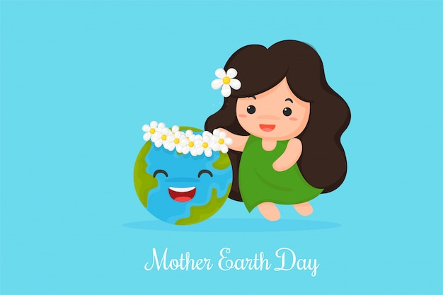 Cute cartoon mother earth shows love for the world.