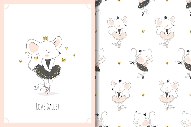 Cute cartoon mouse ballerina cartoon character. mice card and seamless pattern set.